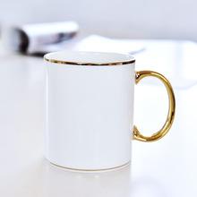 定制金手柄骨瓷杯子  创意办公直身马克水杯 陶瓷广告杯加logo