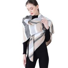 冬季提花仿羊絨方巾三角針橫條圍巾出口歐美外貿保暖女生加厚披肩