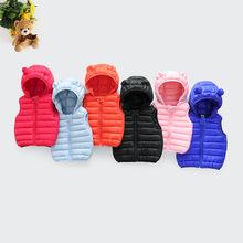 2019新款童裝羽絨棉馬甲男女童連帽耳朵輕薄款兒童背心中小童坎肩
