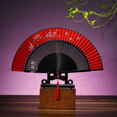 Chinese Fan Chinese Hanfu hand Fan handmade dance fan performance fan with pendant classic folding fan