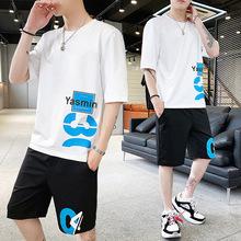短袖套装夏季新款潮牌t恤短裤 男式韩版潮流帅气原宿风时尚两件套
