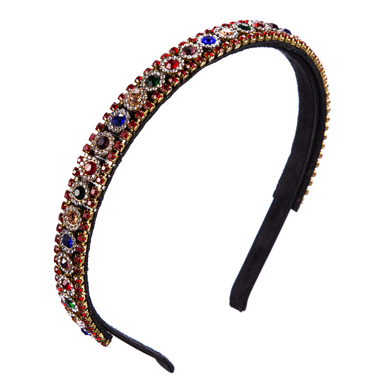 Korean version of the imported headband women's color rhinestones super flash simple temperament wild Europe and the United States party alloy headband hair accessories NHLN177817