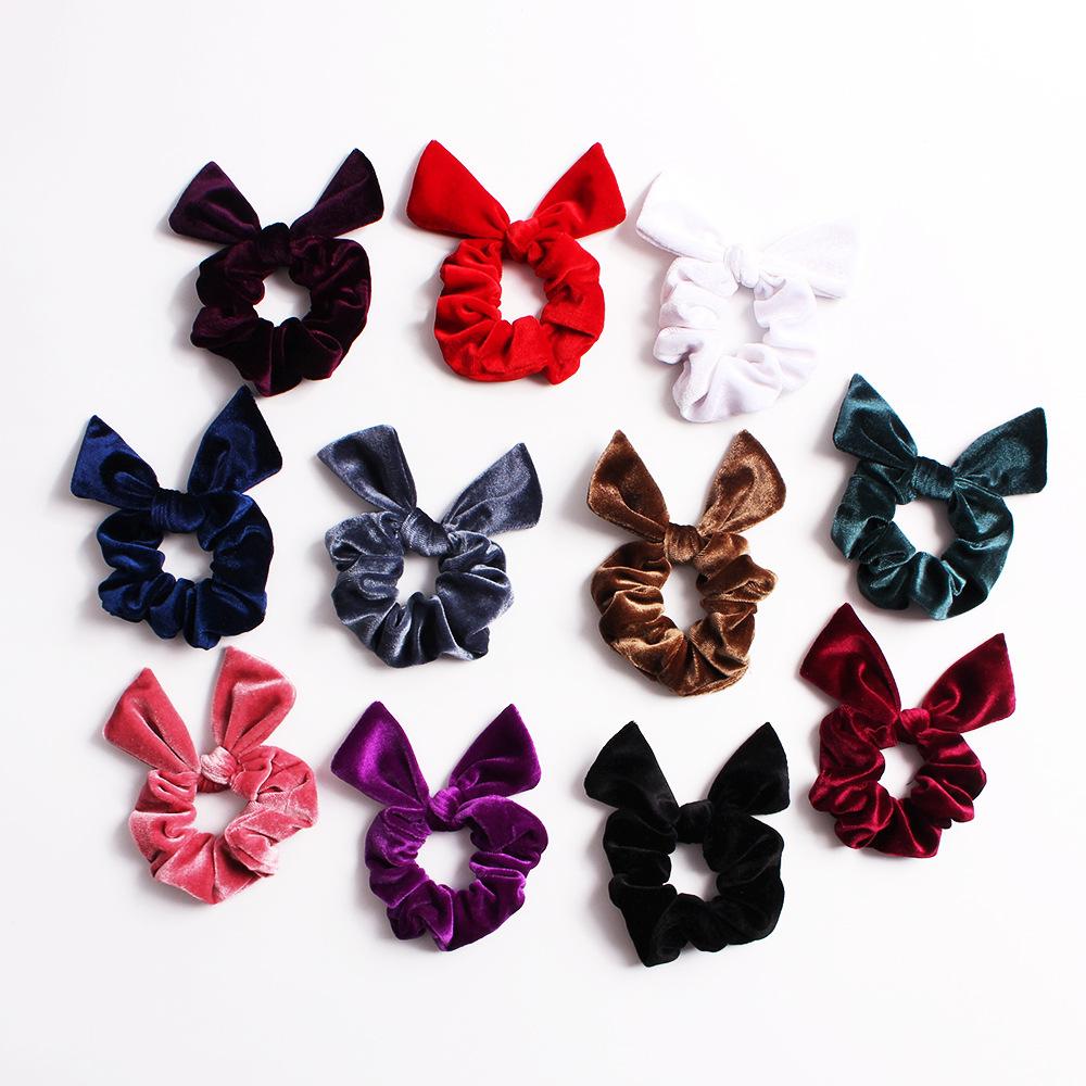 New fashion pointed rabbit ears velvet bow cheap hair rope wholesale NHDM205056
