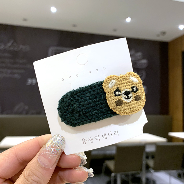 Handknitted wool broken hair clip childrens side clip baby cartoon BB clip girl hairpin headdress NHSA201207
