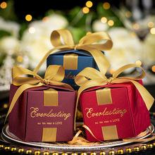 歐式創意婚禮絲帶蝴蝶結禮品包裝盒方形回禮喜糖盒子糖果紙盒定制