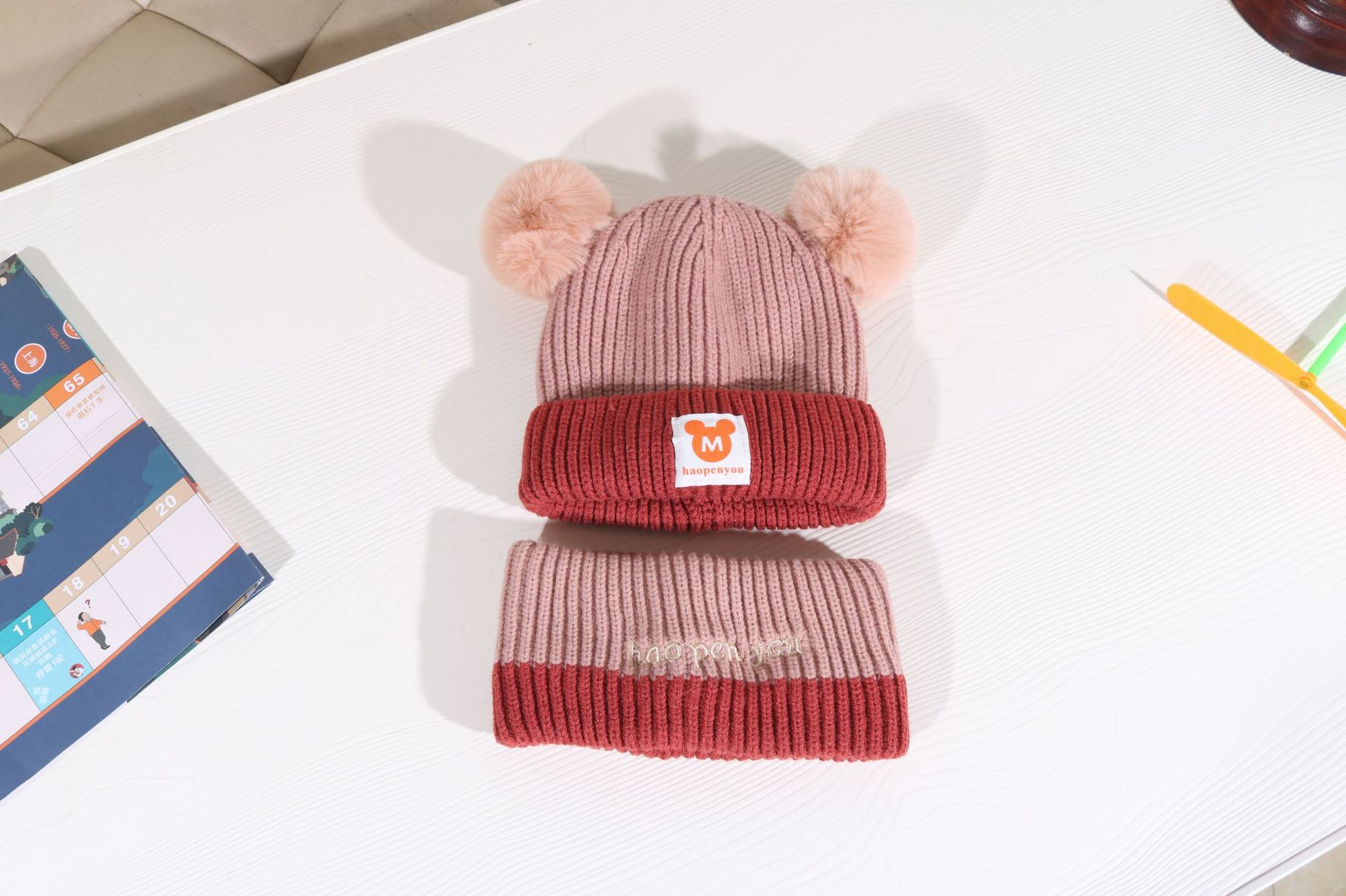 Girl's woolen cap warm autumn and winter plus velvet thickening boy Korean cute NHHY193653