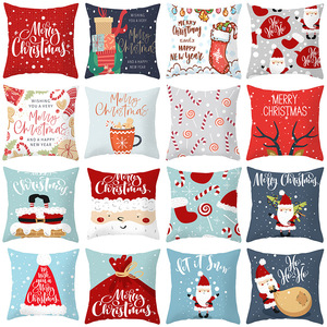 18'' Cushion Cover Pillow Case Christmas elk peach skin pillow case holiday home decoration office sofa cushion cover