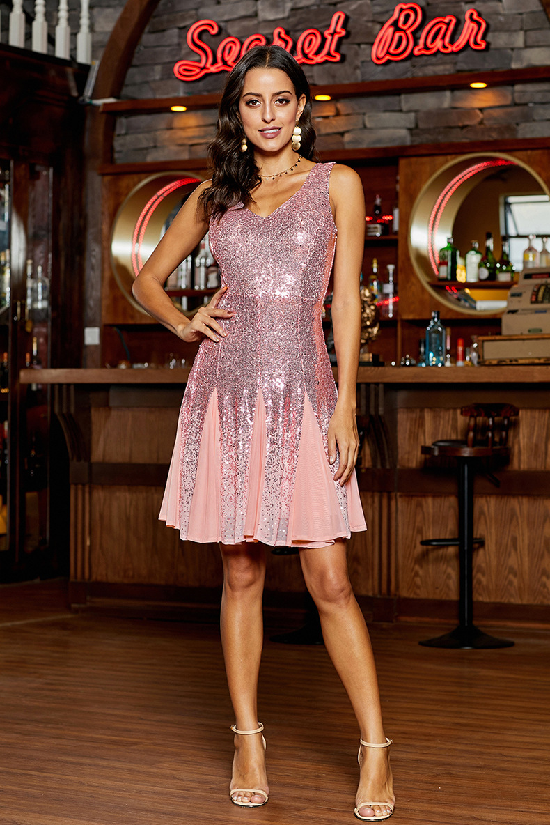 Sequin new sleeveless v-neck gradient color sexy open back women's short dress  NSSI2430
