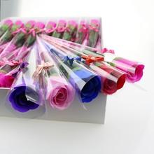 車掛件創意婦女節禮物玫瑰花單朵擺件香皂花掛飾裝飾物 仿真花假