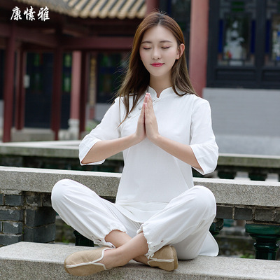 Tai chi kung fu clothing for women cotton Hemp Yoga suit Zen dress Buddhist dress for female