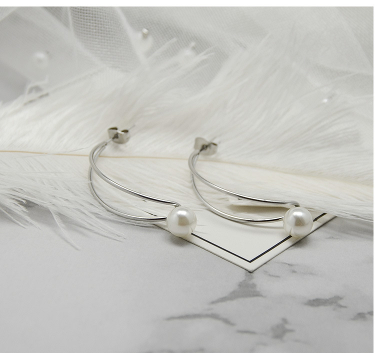 Fashion Double Line Moon Pearl Earrings NHOK152876
