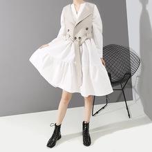 时尚女装裙子v领马甲两件套长袖