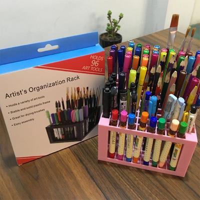 跨境多功能笔架96格方形绘画插笔架可放画笔彩笔架收纳盒
