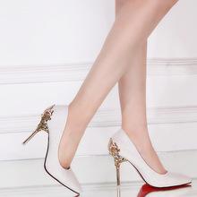 厂销17年春季新款高跟细跟尖头浅口套脚女鞋时尚金属装饰ol百搭单