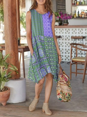 A new Bohemian print womens dress for summer 波西米亚连