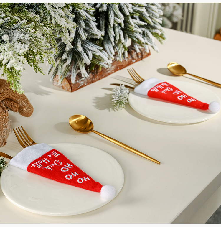 new Christmas decoration hat knife and fork set table decoration wine bottle set  NHHB262245