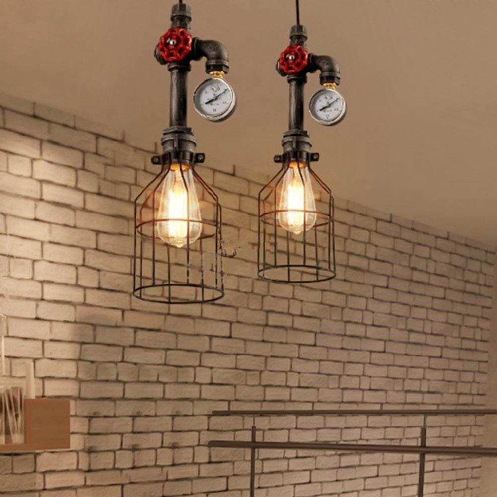 美式复古铁艺吊灯创意工业风铁笼子灯餐厅吧台玄关走廊灯具水管灯