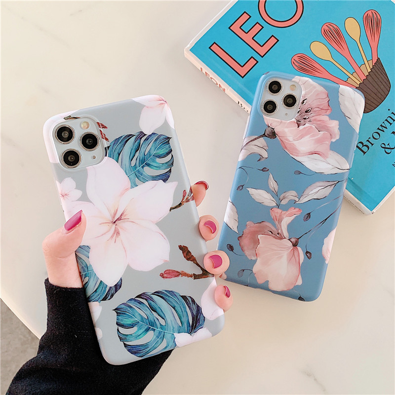 simple retro floral iphone 11 promax mobile phone case for Huawei mate30pro protective phone case NHFI228354
