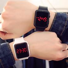 创意夜光方形黑白新款韩版?#20449;?#28526;流led表学生糖果色果冻电子手表