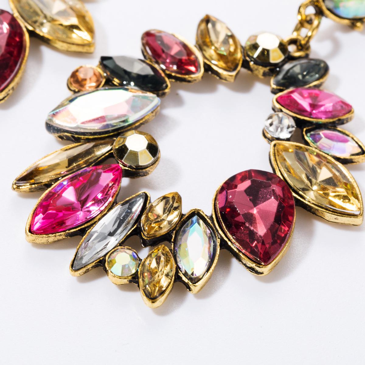 Fashion geometric multi-layer alloy diamond glass drill full diamond earrings female retro earrings NHJE174290