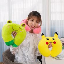 创意毛绒玩具抱枕 卡通动物可爱U型枕 办公室护腰止鼾u形颈枕批发