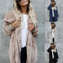 亞馬遜2019歐美秋冬爆款毛毛保暖棉衣中長款兩面穿仿皮草外套女裝