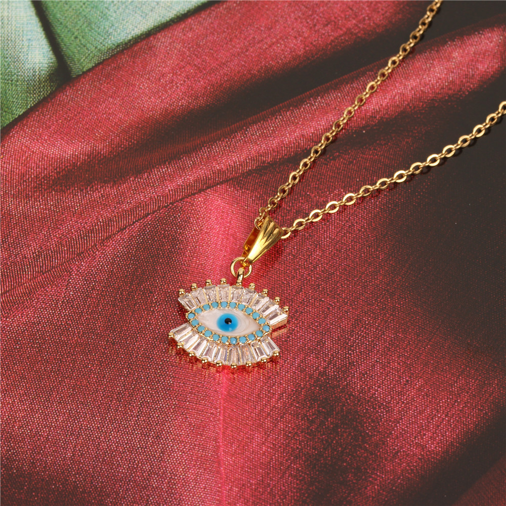 Micro-inlaid zircon Turkish blue eyes pendant stainless steel color necklace NHPY134776