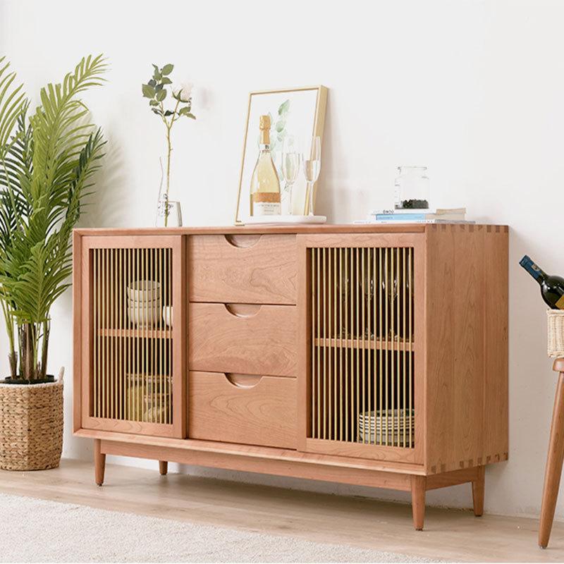 北欧纯实木樱桃木餐边简约现代栅栏格茶水柜胡桃木储物柜客厅家具