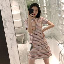 2019夏装新款超仙女少女小清新条纹网红气质慵懒风时尚针织连衣裙