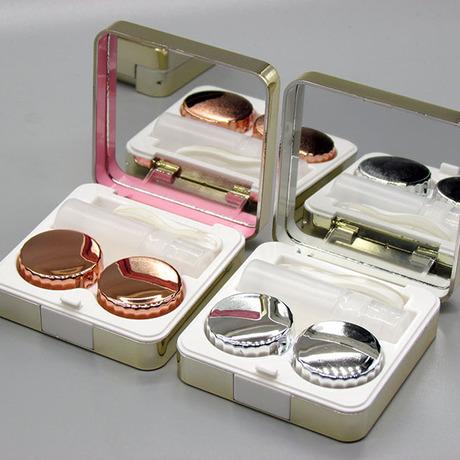 Tinh tế mạ kính áp tròng trường hợp xách tay vô hình hộp mate chăm sóc sắc đẹp hộp bán buôn có thể chọn màu Vỏ kính