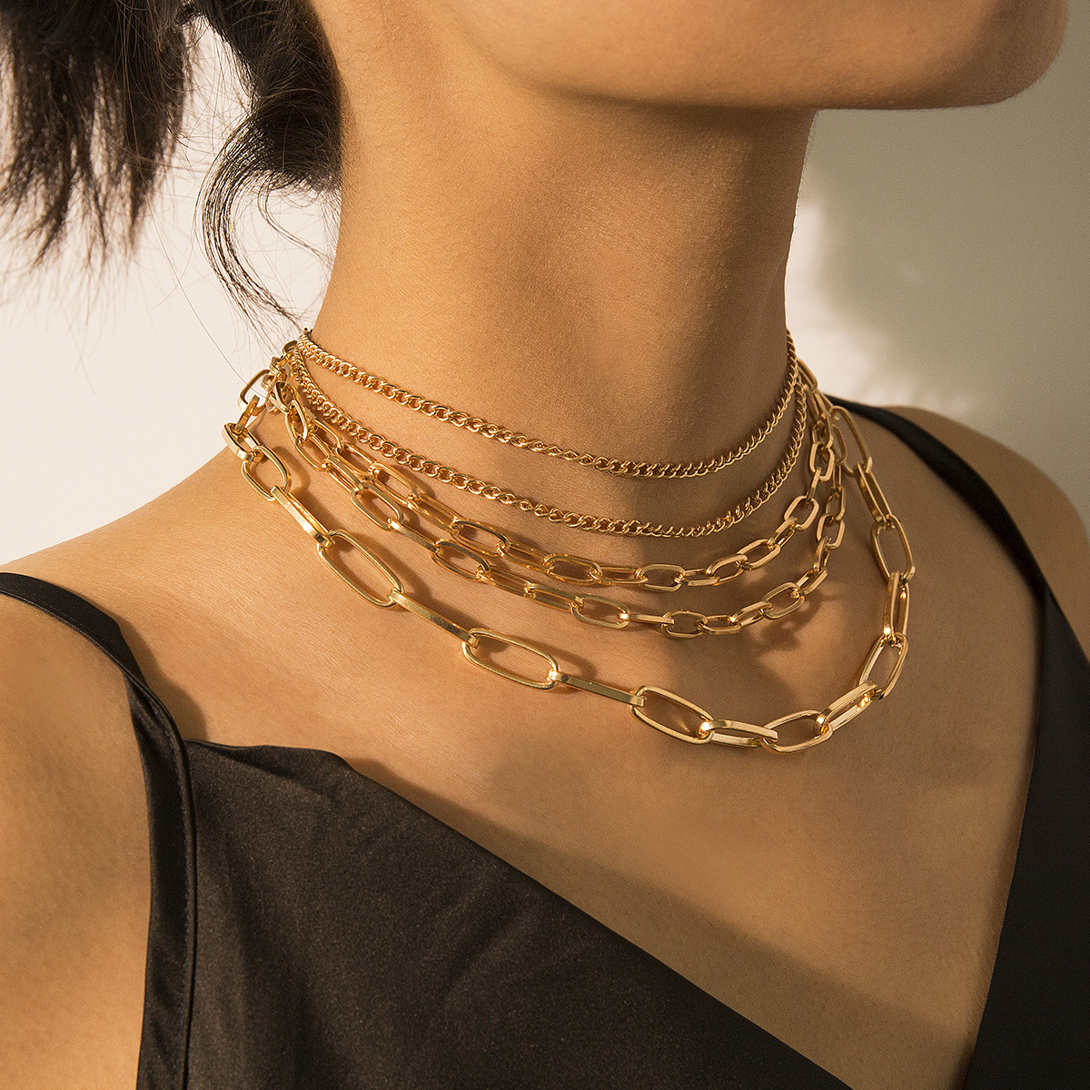 Vintage punk multi-layer mix and match chain necklace NHXR158393