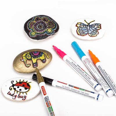厂家直销正亚油漆笔21支记号笔绘画diy涂鸦卡片石头标记笔