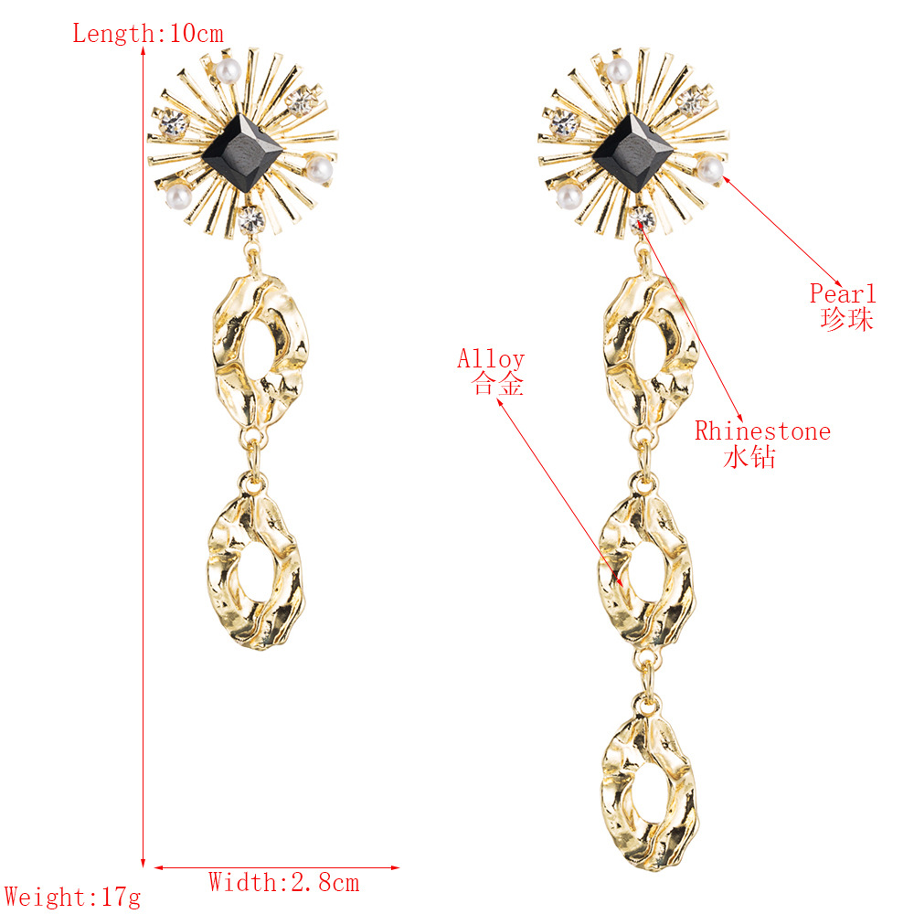 European and American net red explosion style personality products long asymmetric hollow alloy earrings female pearl fringed temperament earrings NHLN190277