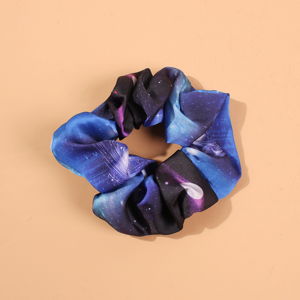 Fashion starry sky color ink hair ring hair accessories female ponytail hair rope large intestine head flower NHMD184961