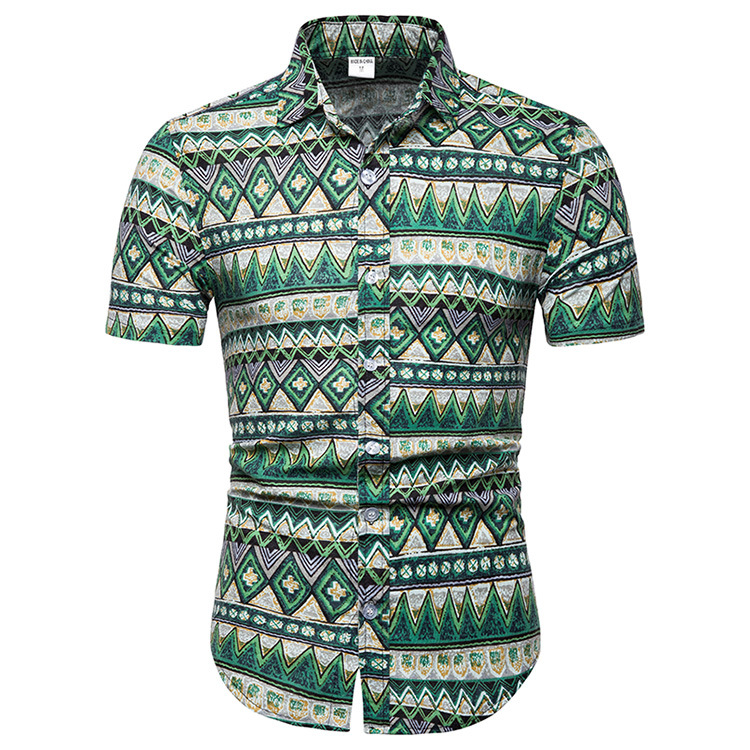 Foreign trade new men's slim fit floral short sleeve shirt men's British style large pointed collar short sleeve shirt