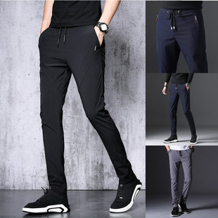 Summer men's pants loose straight ice silk ultra-thin men's casual pants spring and autumn sports trousers stretch quick-drying pants