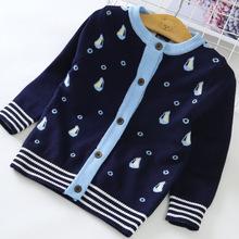 女童毛衣外套儿童线衫2018新款春秋外套韩版童装帆船宝宝针织开衫
