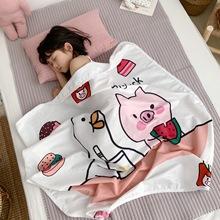 ins婴儿卡通纱布夹棉盖毯新生儿童被子空调被宝宝幼儿园午睡毯批