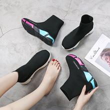 2019春夏季款情侣袜子鞋女韩版针织毛线运动休闲女鞋工厂一件代发