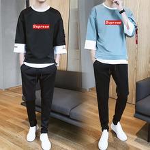 春秋季休闲套装七分袖T恤长裤男运动青少年学生潮流卫衣印花一套