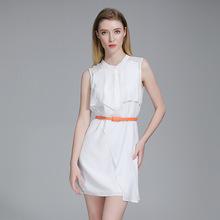 2019春季时?#20449;?#32654;气质女装基本款无袖立领A字裙连衣裙代理加盟