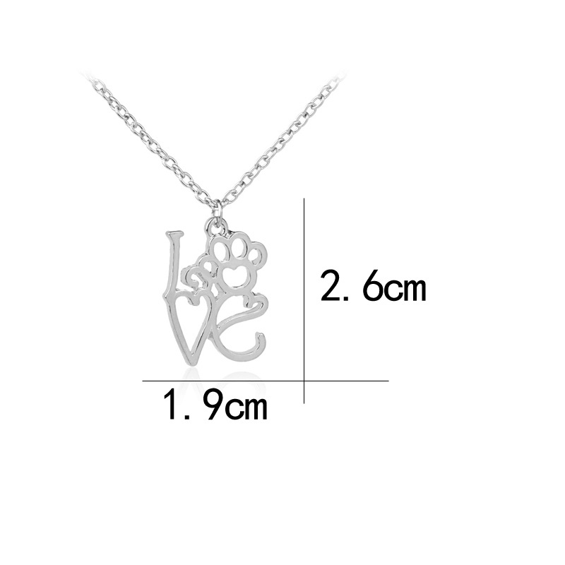 necklace clavicle chain creative new letter I LOVE YOU love hollow out dog claw necklace wholesale nihaojewelry NHCU232187