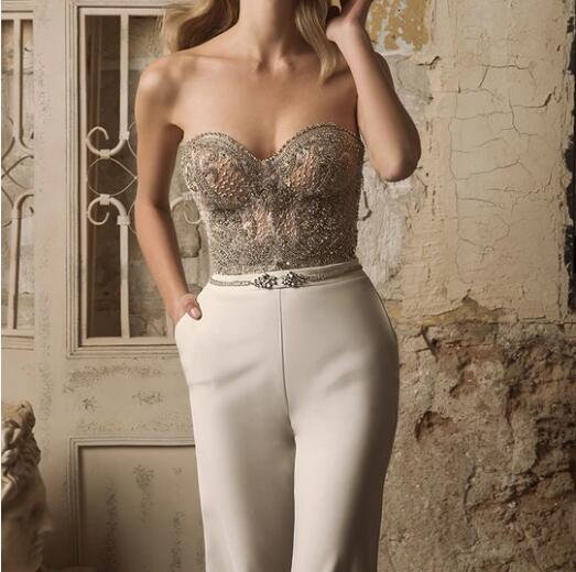 The new spring 2020 foreign trade new women's clothing independent station, breast wrapped sexy sleeveless hot glitter trousers jumpsuit