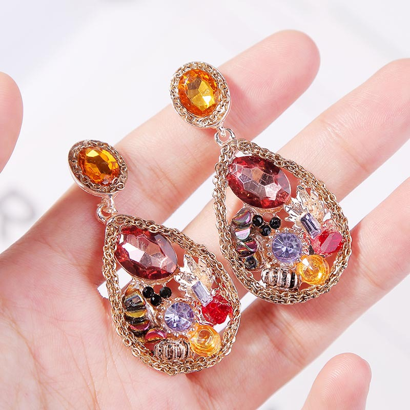 earrings colored zircon water drop geometric earrings simple metal jewelry NHLA204602