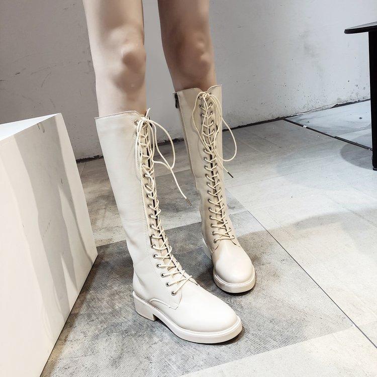秋冬新款高筒靴女欧美时尚百搭皮面骑士靴平底侧拉链2019休闲长靴