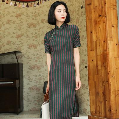 厂家直销妈妈装复古印花夏季2019新款女日常改良老上海旗袍90390