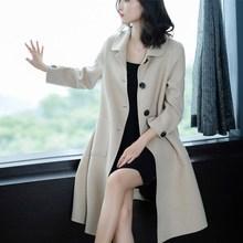 2018新款100%双面羊绒大衣女中长款韩版修身纯羊毛呢子外套风衣厚