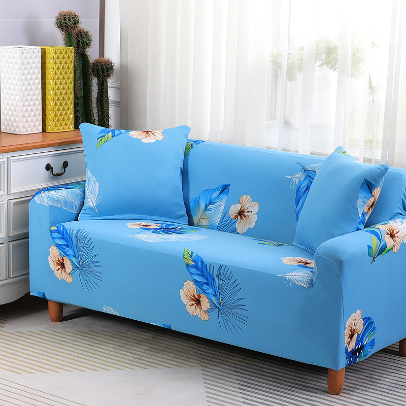 Comfortable blue flower sofa cover slipcover cushion for multiple seats NHSP134618