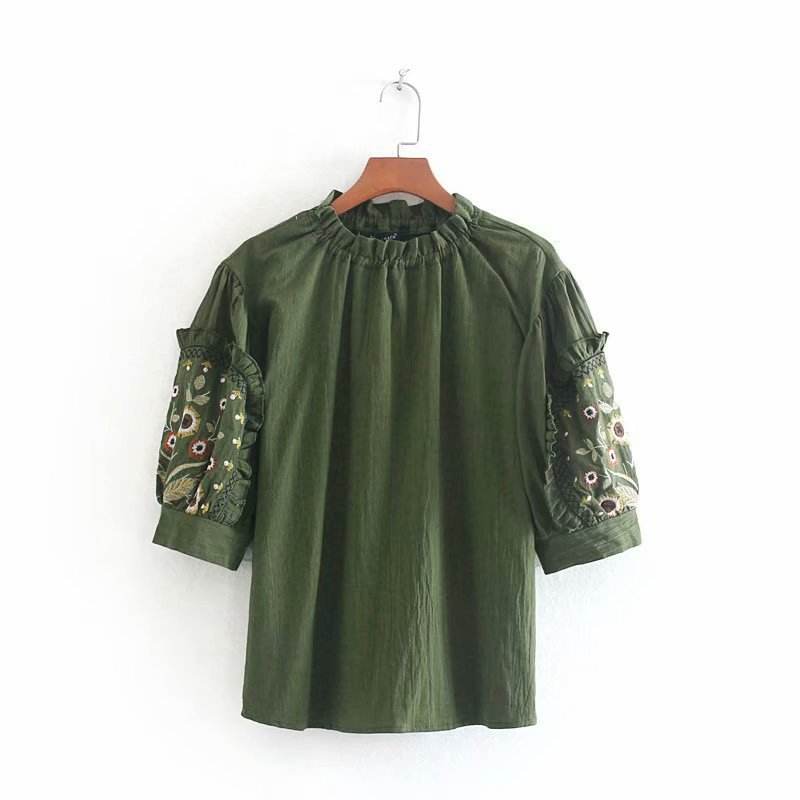 New wholesale army green embroidery top pullover shirt