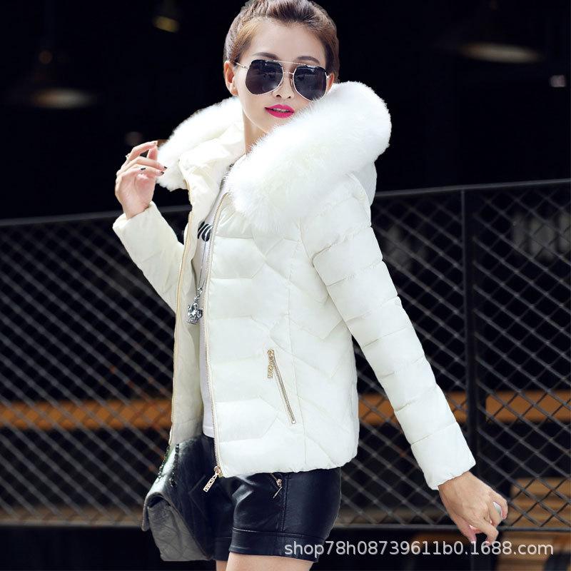 女士短款棉衣秋冬新款时尚韩版连帽大毛领加厚轻薄衣羽绒棉服女装